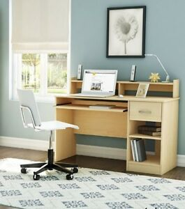 Wood Student Computer Writing Desk Table Home Office Workstation Furniture Maple