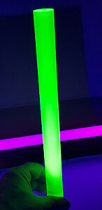1 1 2 Diameter 12 Inch Long Clear Green Fluorescent Acrylic Lucite Rod 38mm