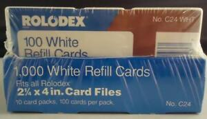 New Genuine Rolodex Brand 1000 C 24 Refill Cards 2 1 4 X 4 Rotary White