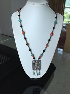 Antique Chinese Silver Pendant Necklace With Lapis Amber Turquoise