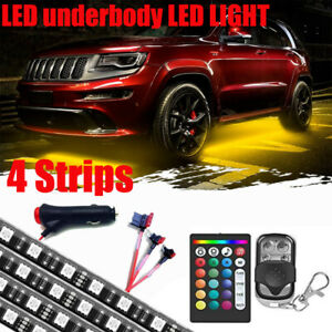 Caracal 4x Strip Color Changing Led Under Car Underglow Underbody Lights Kit