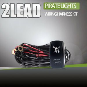 2 Lead Wiring Harness Kit 12v W Remote Control Switch For Led Light Atv Offroad