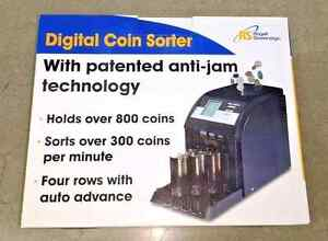 Commercial Electronic 4 Row Digital Coin Sorter Change Counter Royal Sovereign