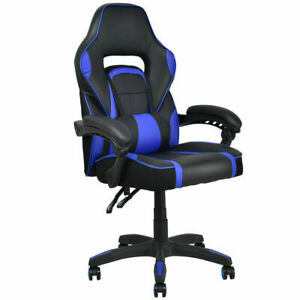 Executive Racing Style Pu Leather Gaming Chair High Back Recliner Office Blue