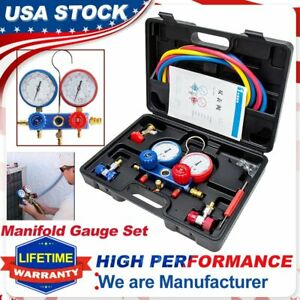 4 Way R134a R410a Ac Manifold Gauge Set Auto Service Hvac A C Refrigeration Kits