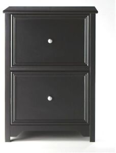 File Cabinet Document Storage Office Organizer Drawers Black Wood Library Home
