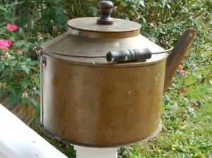 Rare 1800 S Hand Forged Large Copper Kettle With Lid Handle Long Spout