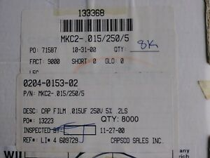 Wima Mkc2 015 250 5 Capacitor 0 15uf 250v 5 Lots Of 8000