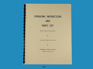Powermatic No 10 Hollow Chisel Mortiser Operating Parts List Manual 261