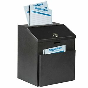 Suggestion Box Wall Mount Lock Donation Box Steel Collection Ballot Holder Black