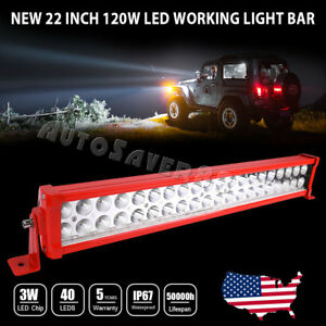 22 120w Led Light Work Bar Flood Spot Driving Combo With Wiring Atv Jeep Truck