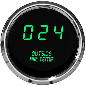 Digital Outside Air Temperature Gauge W Sender Green Led Chrome Bezel Warranty