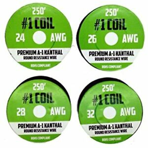 Kanthal A 1 Wire 1000 Ft 4 Pack 24 26 28 32 Awg Gauge Spools Each Roll 250 Feet