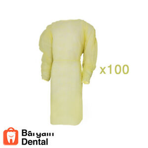 Winner Dental Isolation Gowns Elastic Cuffs Disposable 100 Pcs Yellow fda