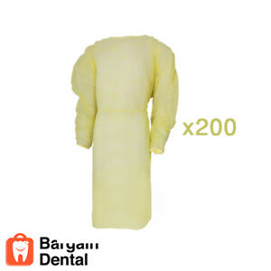 Winner Dental Isolation Gowns Elastic Cuffs Disposable 200 Pcs Yellow Ref 204