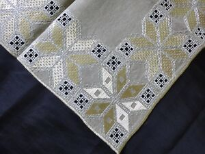 Lovely Vintage Hand Embroidered Linen Tablecloth Wih Silk Embroidery