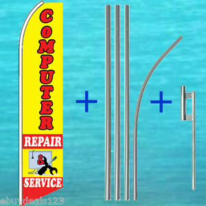 Computer Repair Service Flutter Flag Pole Kit Swooper Feather Banner Sign 3060