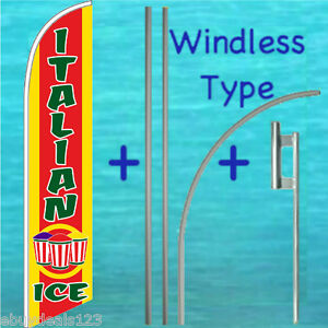 Italian Ice Windless Feather Flag 15 Premium Pole Mount Kit Swooper Banner