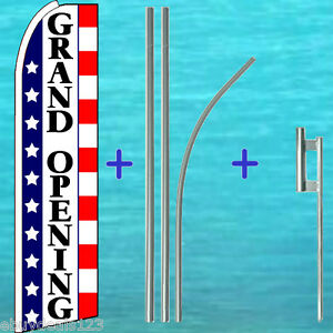 Grand Opening Flutter Feather Flag 15 Premium Pole Mount Swooper Bow Banner