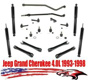 Front Rear Shocks W Steering 18pc Kit For Jeep Grand Cherokee 4 0l 1993 1998