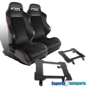 79 98 Mustang Sport Suede Leather Red Stitching Seats laser Welded Brackets