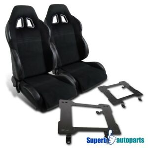 79 98 Mustang Black Pvc Leather Reclinable Racing Seats laser Welded Brackets