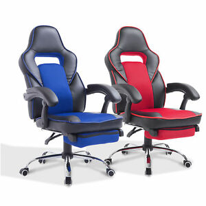 High Back Office Chair Gaming Swivel Race Car Style Pu Recliner Seat W footrest