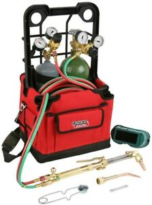 Portable Welding Torch Kit Cutting Brazing Carry Case Hose Goggles Striker Tips