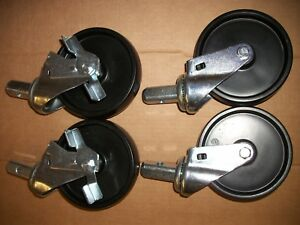 Set Of 4 Swivel Stem Casters With 5 Polyurethane Wheels 2 With Brakes Base