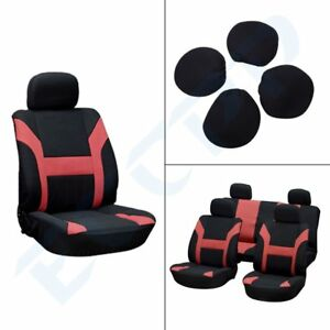 8pcs Red Black Polyester Car Seat Covers W Headrest Covers For Porsche