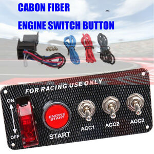 Racing Car 12v Ignition Switch Panel Led Engine Start Push Button Toggle Carbon