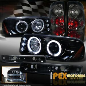 2004 2006 Gmc Sierra Projector Shiny Black Headlights signals Smoke Tail Light