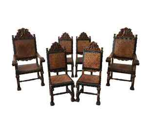 Spanish Leather Dining Chairs Antique Furniture