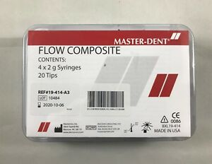 Master dent Flow Composite 4 X 2g Syringes 20 Tips Refill Kit A3 usa fda