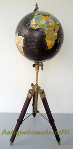 Industrial Vintage Style World Globe 12 On Metal Tripod Stand Authentic Table