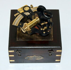 Vintage Model Nautical Sextant Marine Kelvin Hughes London 1917 W Wooden Box