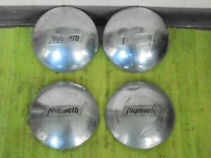37 38 Plymouth Dog Dish Hubcaps Set Of 4 Mopar Hub Caps 1937 1938