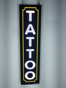 Tattoo Sign With Yellow Border led Light Box Sign White Color 12x48x2 Inc