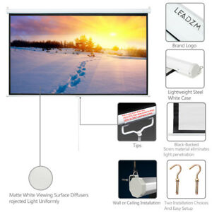 100 Projector Projection Screen 16 9 Home Movie Manual Pull Down Matte White