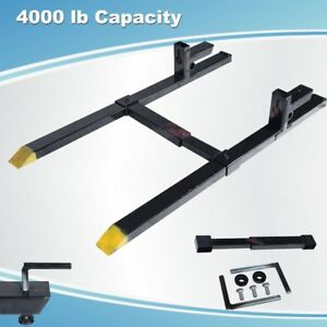 60 Clamp On Pallet Forks 4 000 Lb Capacity W Stabilizer Bar Loader Bucket Skid