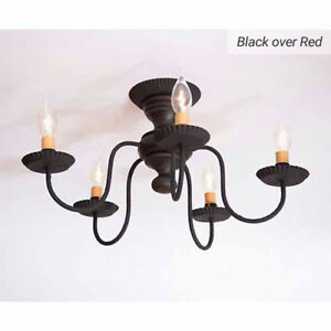 Thorndale 5 Arm Ceiling Light Primitive Flush Mount Chandelier In Black