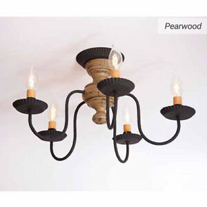 Thorndale 5 Arm Ceiling Light Primitive Flush Mount Chandelier In Pearwood