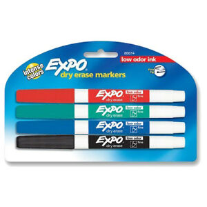 New Expo Dry Erase Fine Tip Markers Low Odor Ink Four Colors 24 Pack