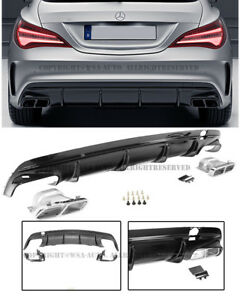 For 14 16 Mb Cla Class Amg Style Rear Bumper Quad Exhaust Muffler Tip Diffuser