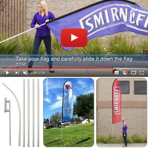 16 Tall Regular Sleeve Swooper Flag Pole Kit W Spike Flutter Feather Banner