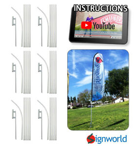 16 Tall Sleeve Swooper Flag Pole Kit W Spike Flutter Feather Banner 6 Pcs