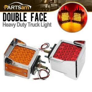 2pc Dual Face Chrome Stop Turn Tail Square 52 Led Amber red Stud Pedestal Lights