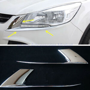 New Chrome Front Head Light Cover Trim For Ford Escape 2013 2016