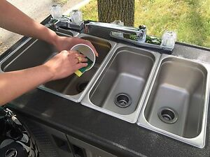 Portable Concession Sink Hand Wash 3 4 Compartment Hot Water Self Contained 110v