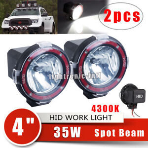 2pcs 4 35w H3 Hid Xenon Work Light Spot Beam Offroad Truck Atv 4x4 Boat 4300k